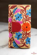 The perfect clutch, engraved and floral cashmere embroidered wallet for women that suits your style!