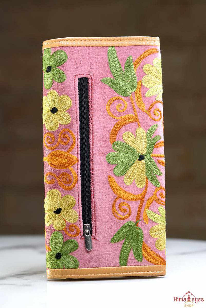 A lightweight everyday wallet, perfect size for your essentials, crafted from beautiful hand-embroidery design on a suede leather.