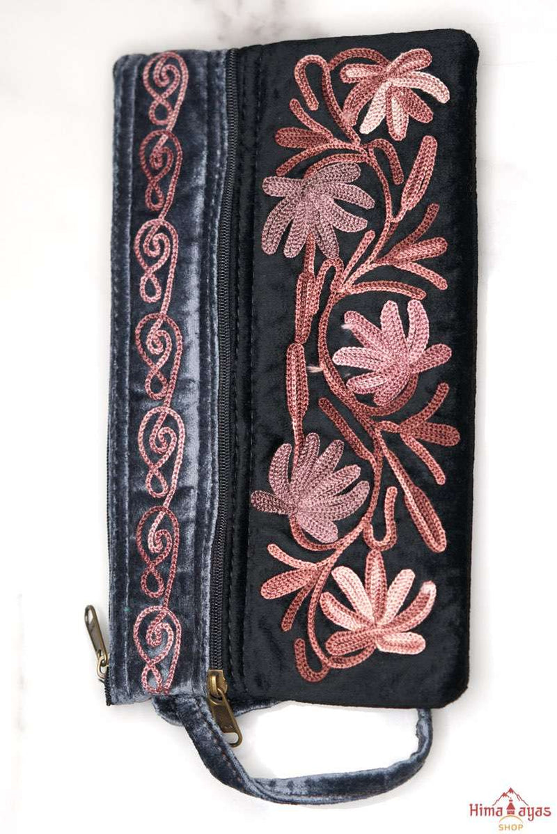 A stylist wristlet women purse for everyday use, handmade with kashmiri embroidery design for chic style.