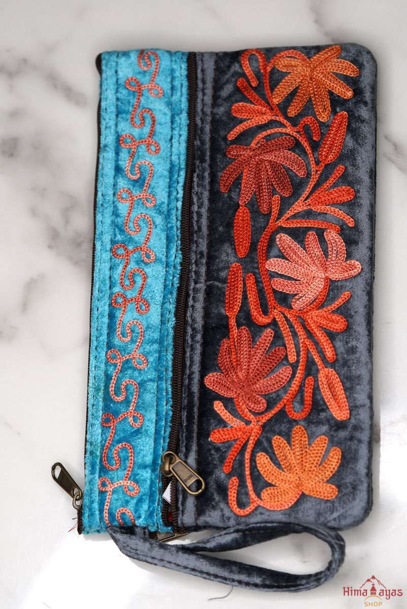 Unique style wristlet purse with hand embroidery, easy to carry and stylist design