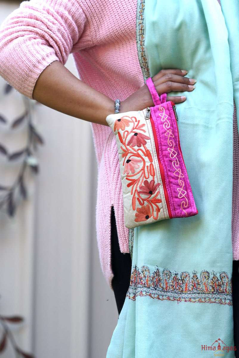 Beautiful handmade women's purse with Kashmiri embroidery