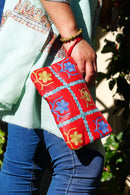 Beautiful handmade wristlet purse with Kashmiri embroidery for everyday use.