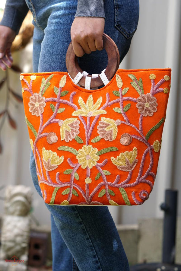 Unique style tote bag with hand embroidery, easy to carry and stylist design