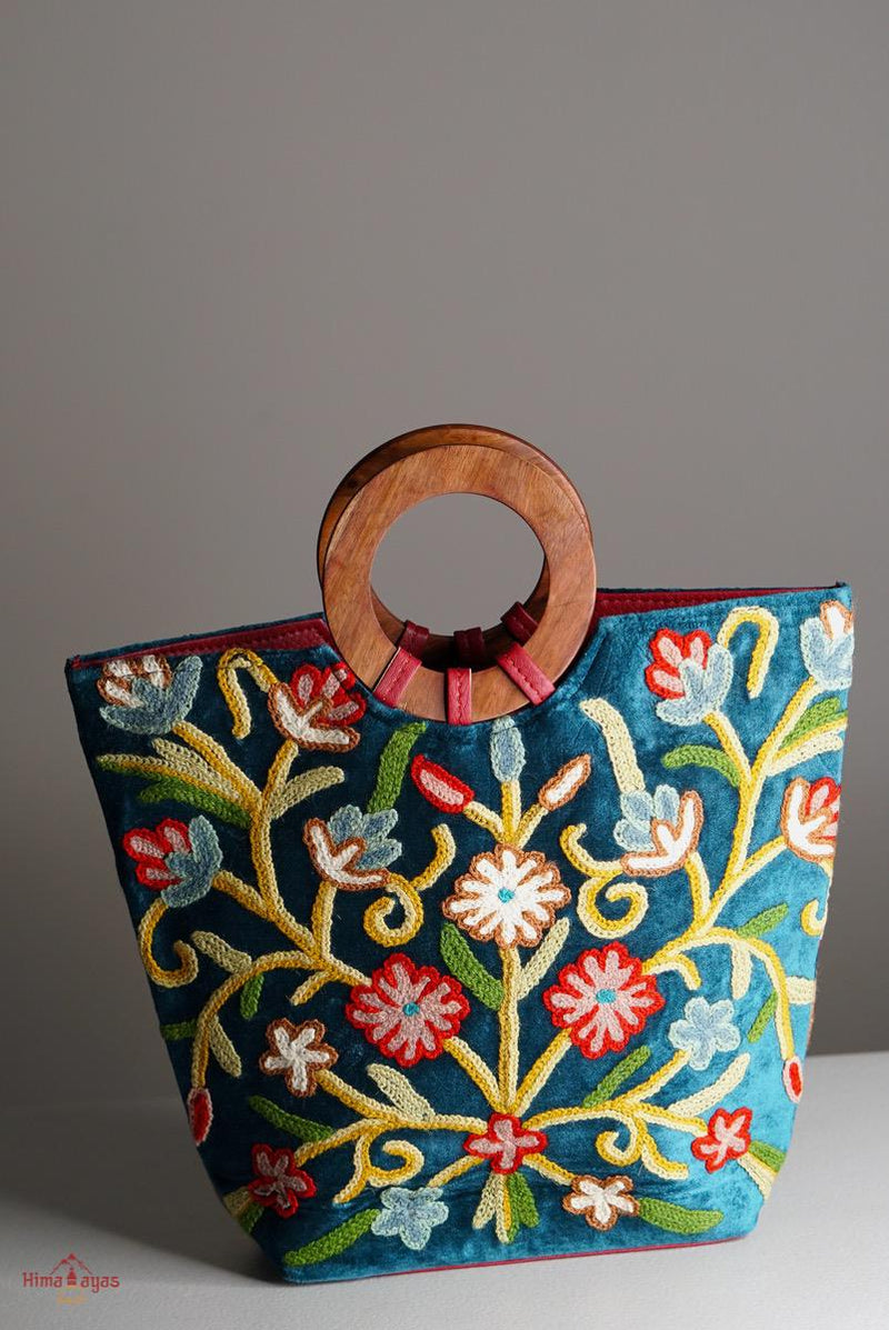 A stunning tote bag for special day out, step out in style with this beautifully handmade Cashmere style embroidered bag.