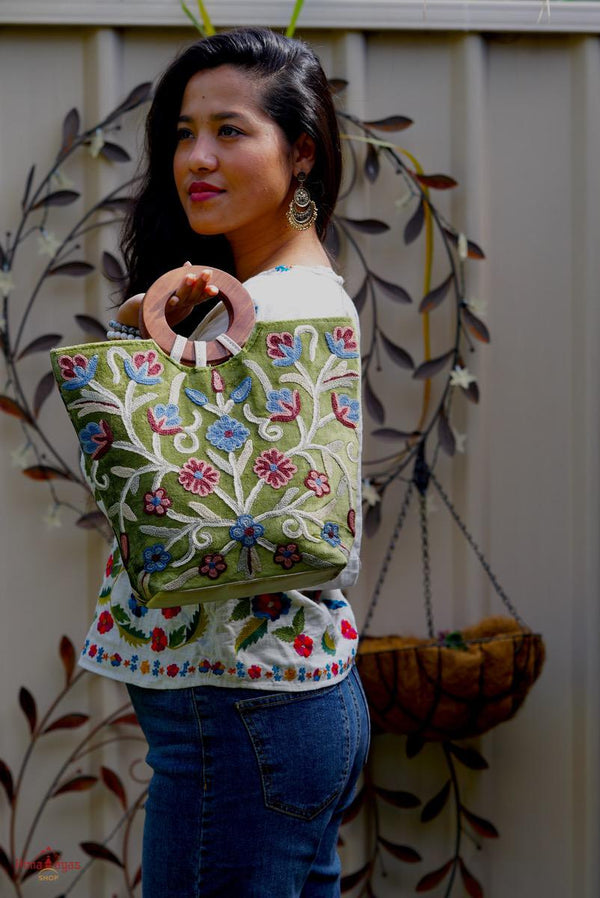 A stylist women's Tote bag for everyday use, handmade and kashmiri embroidery design for boho style.