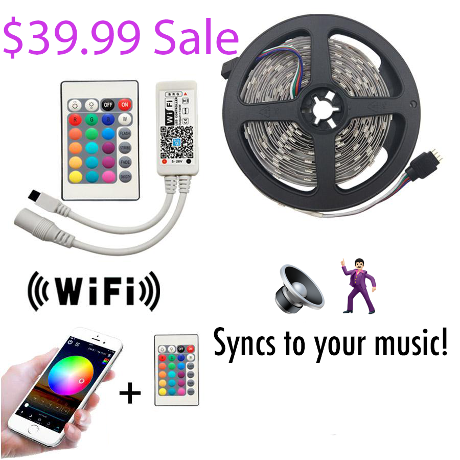 $39.99 Sale Wifi LED Strip and Remote Sync to Your Phone