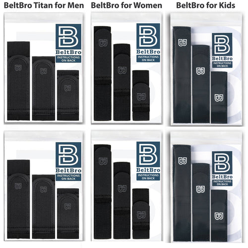 Gift Set 6-Pack (Includes 2 BeltBro Titan for Men, 2 BeltBro Original,  & 2 BeltBro for Kids)