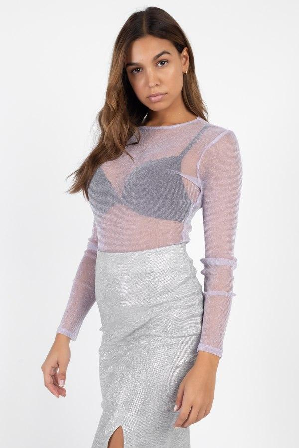 Sheer Mesh Metallic Top