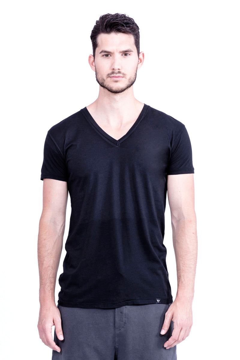 V Neck - Tshirt - Colour Black - Ravens View - 2