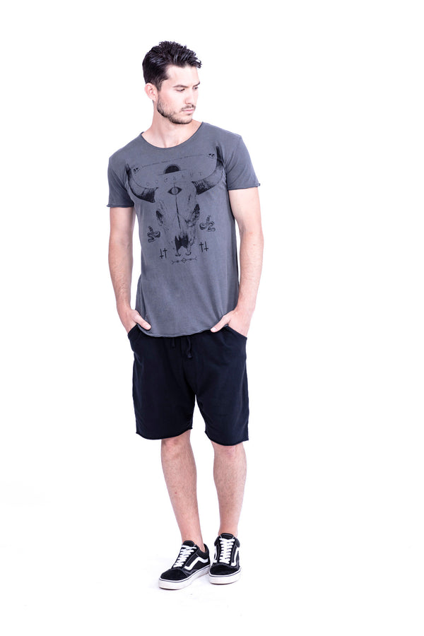 Buffalo Tee - Round Neck - Cut Off - Tshirt - Colour Antracite - 1