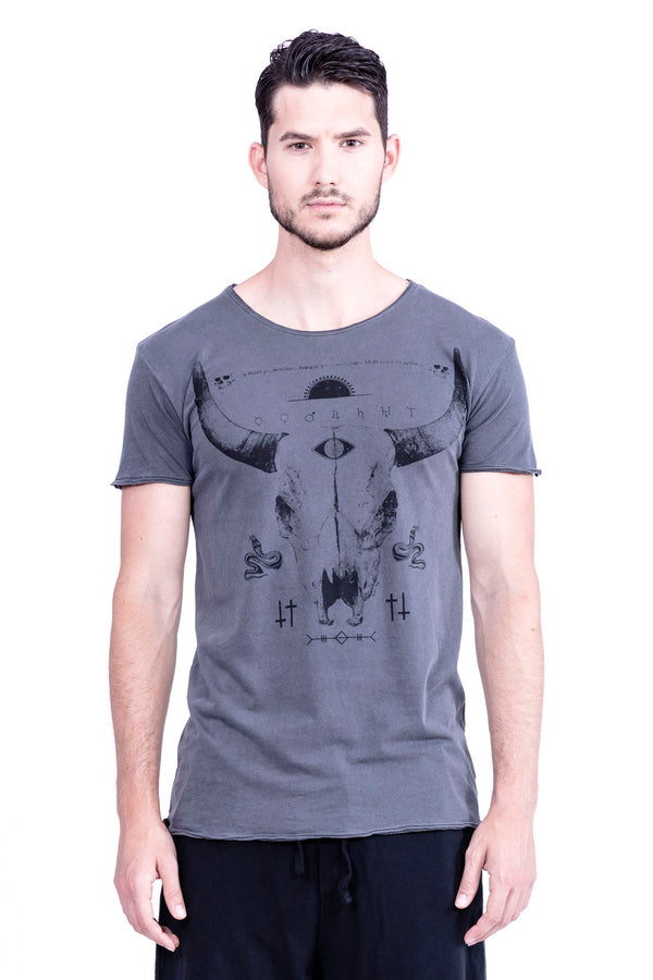 Buffalo Tee - Round Neck - Cut Off - Tshirt - Colour Antracite - 2
