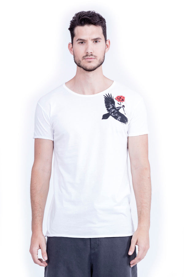Raven & Rose - Round Neck - Cut Off - Tshirt - Colour Rose White - 2
