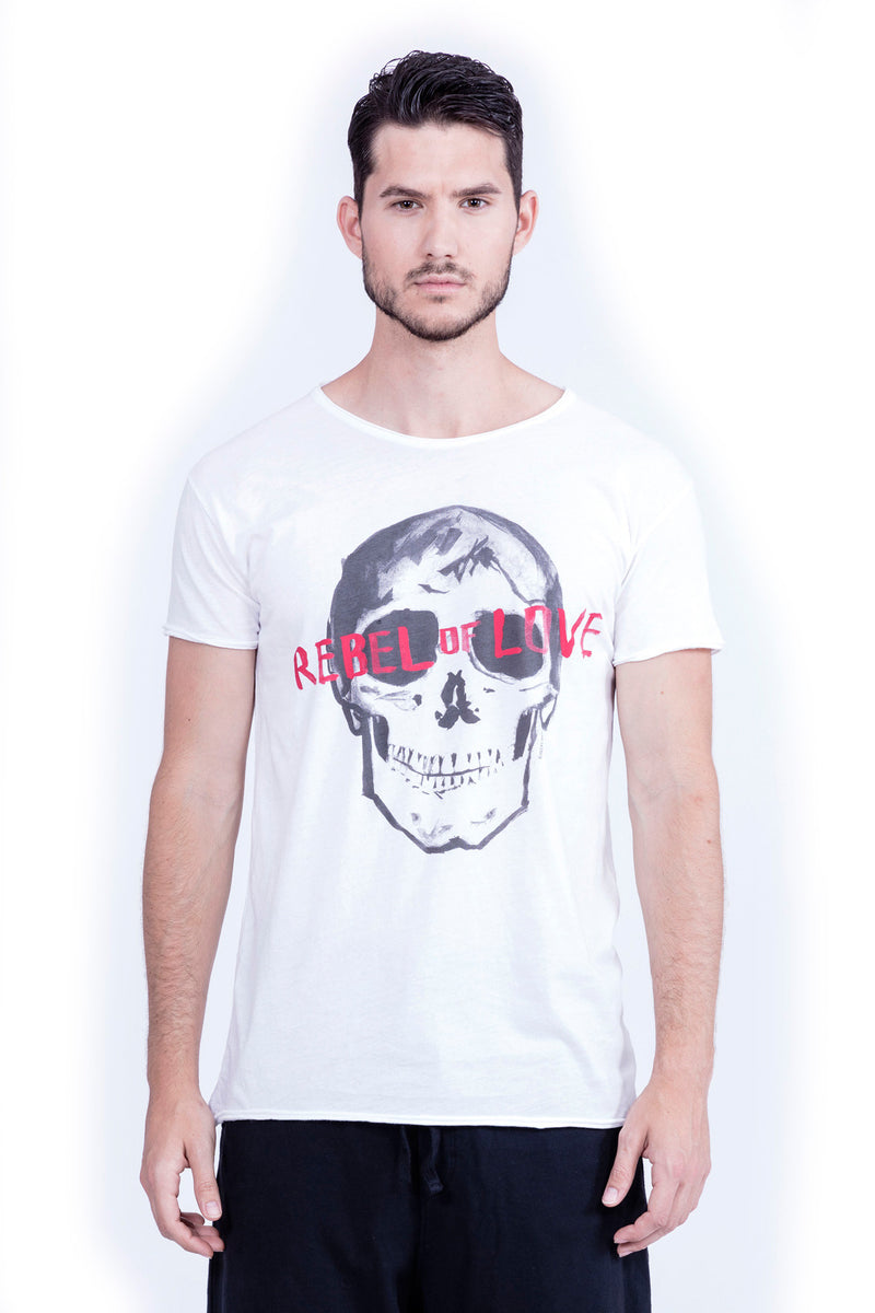 Rebel of Love - Round Neck - Cut Off - Tshirt - Colour White - 2