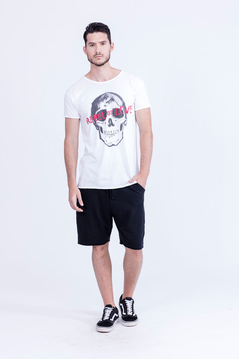 Rebel of Love - Round Neck - Cut Off - Tshirt - Colour White - 3