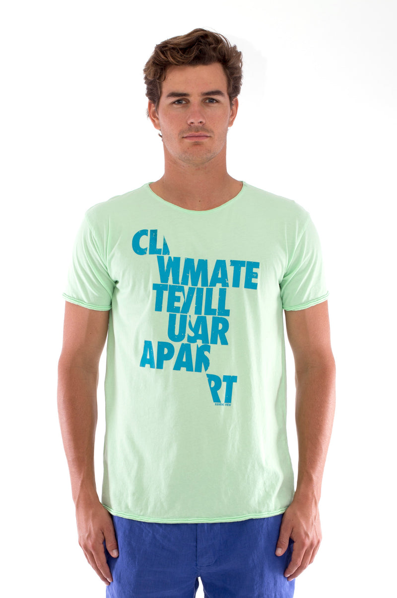 Climate will tear us… - Round Neck - Cut Off - Tshirt - Colour Mint and Capri Shorts - Colour Blue - 2