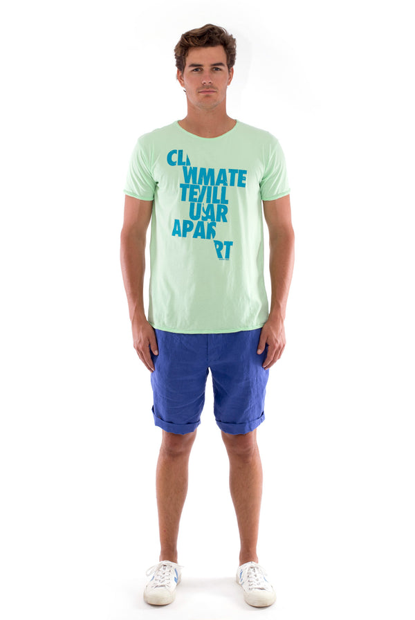 Climate will tear us… - Round Neck - Cut Off - Tshirt - Colour Mint and Capri Shorts - Colour Blue - 1