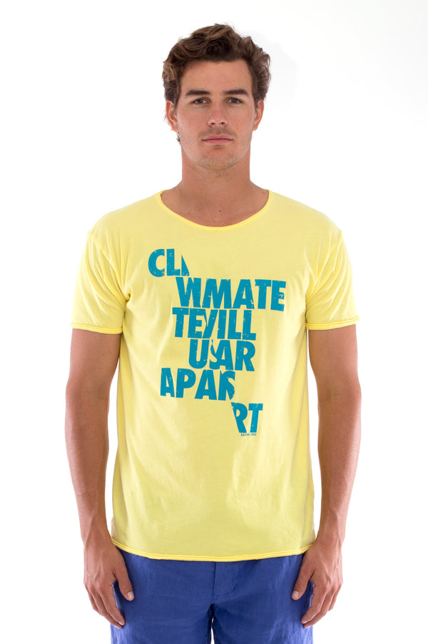 Climate will tear us… - Round Neck - Cut Off - Tshirt - Colour Yellow and Capri Shorts - Colour Blue -2