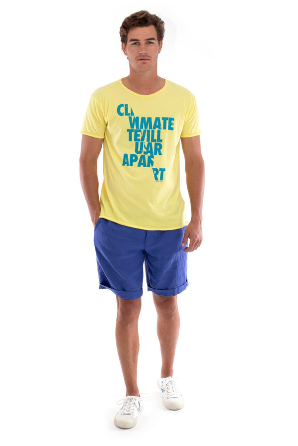 Climate will tear us… - Round Neck - Cut Off - Tshirt - Colour Yellow and Capri Shorts - Colour Blue -1