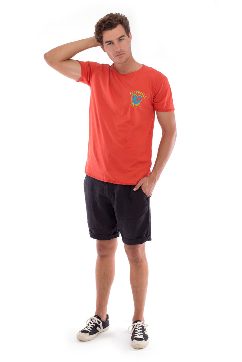 Eco rebel - Round Neck - Cut Off - Tshirt - Colour Terracotta and Capri shorts - Colour Black -1