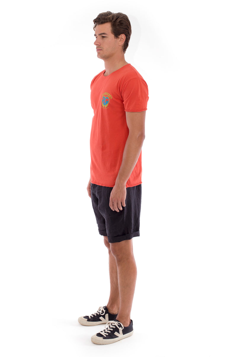 Eco rebel - Round Neck - Cut Off - Tshirt - Colour Terracotta and Capri shorts - Colour Black -3