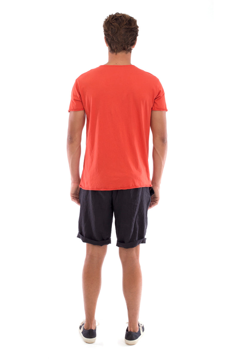 Eco rebel - Round Neck - Cut Off - Tshirt - Colour Terracotta and Capri shorts - Colour Black -4
