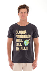 Global warming will kill… - Round Neck - Cut Off - Tshirt - Colour Anthracite and Raven shorts - Colour Sand -2