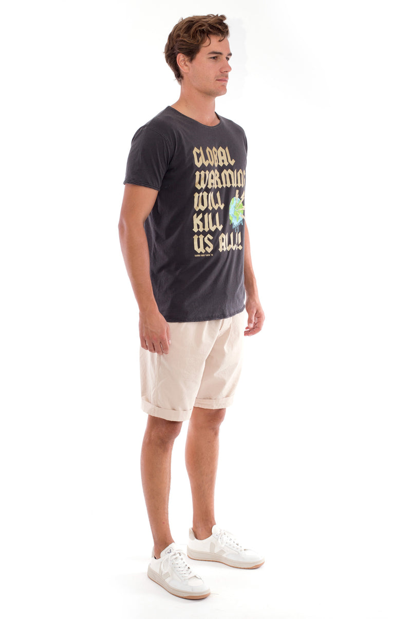 Global warming will kill… - Round Neck - Cut Off - Tshirt - Colour Anthracite and Raven shorts - Colour Sand -3