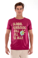 Global warming will kill… - Round Neck - Cut Off - Tshirt - Colour Garnet and Raven shorts - Colour Sand -2