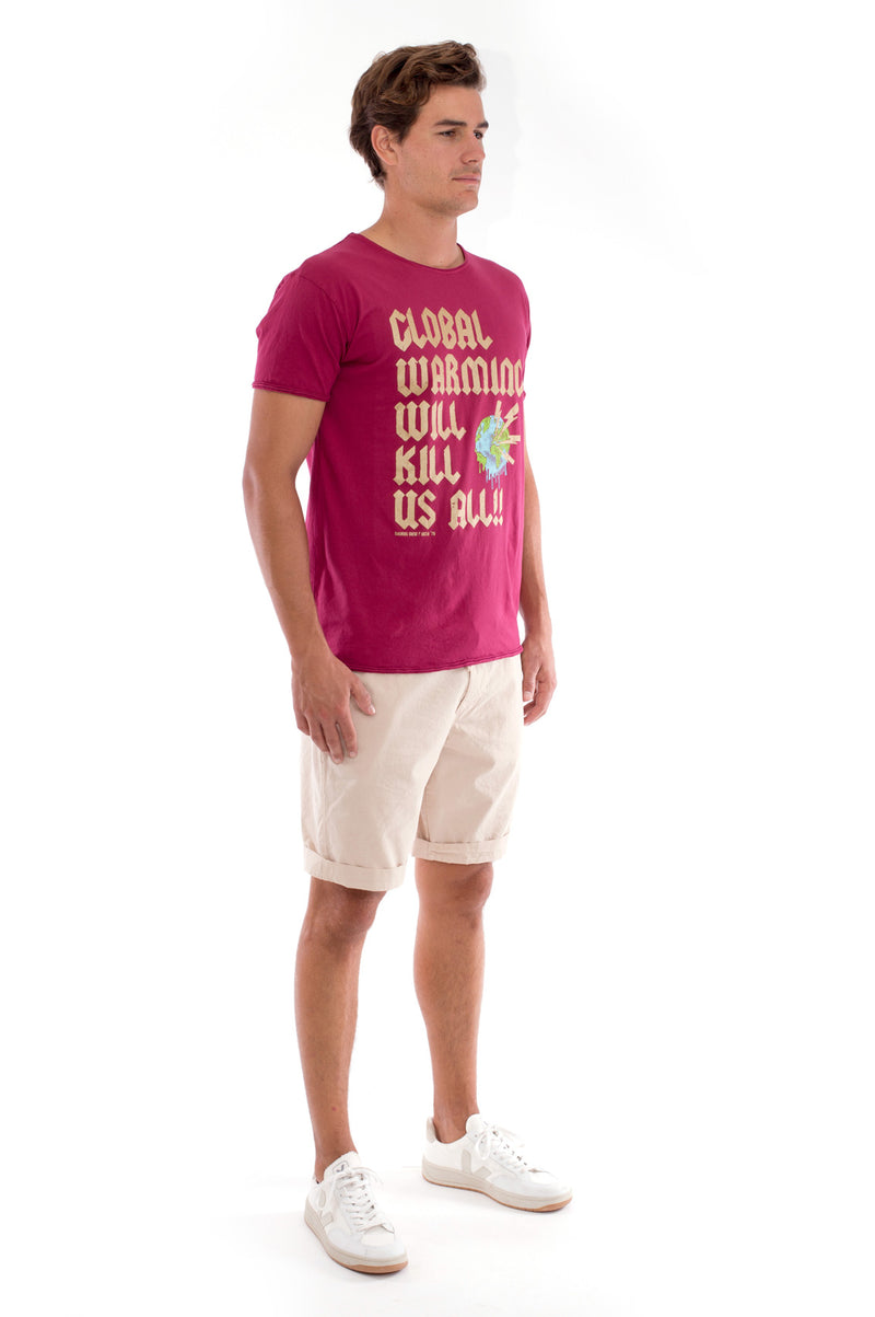 Global warming will kill… - Round Neck - Cut Off - Tshirt - Colour Garnet and Raven shorts - Colour Sand -3
