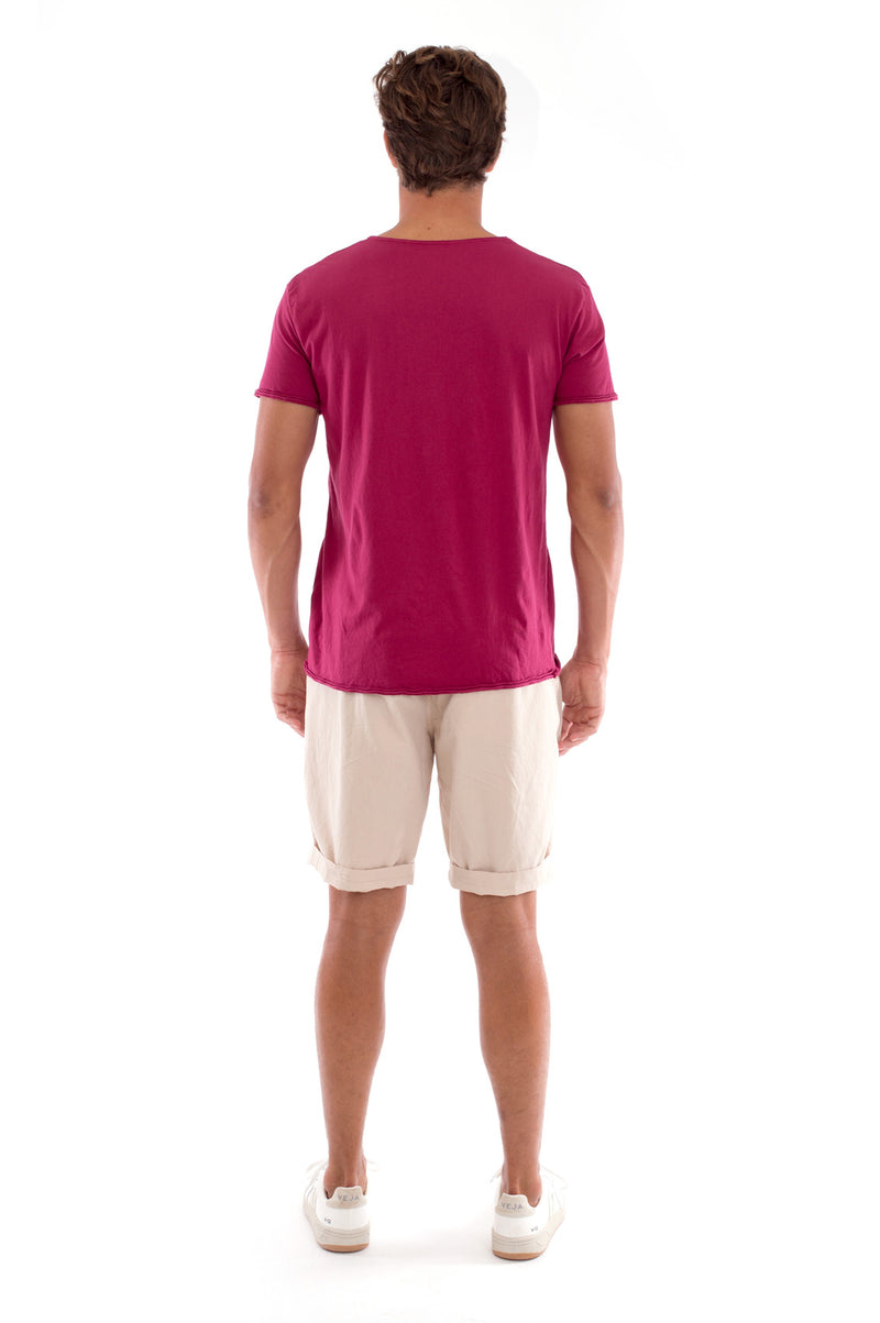 Global warming will kill… - Round Neck - Cut Off - Tshirt - Colour Garnet and Raven shorts - Colour Sand -4