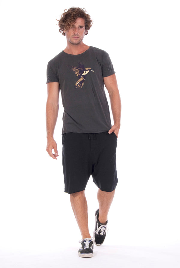Gold Raven - Round Neck - Cut Off - Tshirt - Colour Anthracite and Short Pants- Colour Black 1