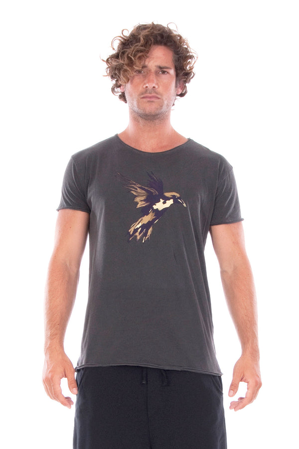 Gold Raven - Round Neck - Cut Off - Tshirt - Colour Anthracite and Short Pants- Colour Black 2