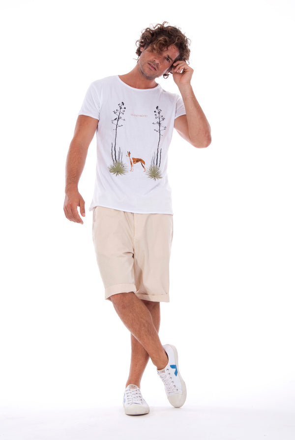 Island Mood - Round Neck - Cut Off - Tshirt - Colour White and Raven Shorts - Colour Sand 1