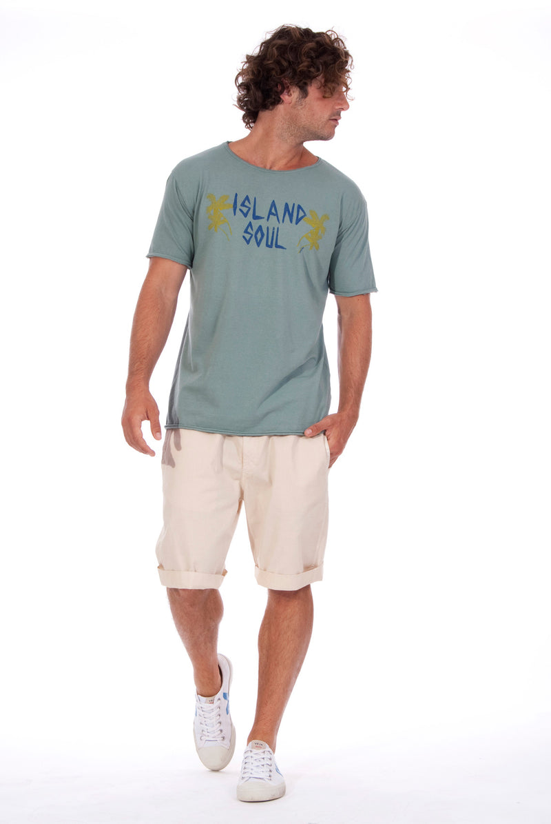 Island Soul - Round Neck - Cut Off - Tshirt - Colour Green and Raven Shorts - Colour Sand 1