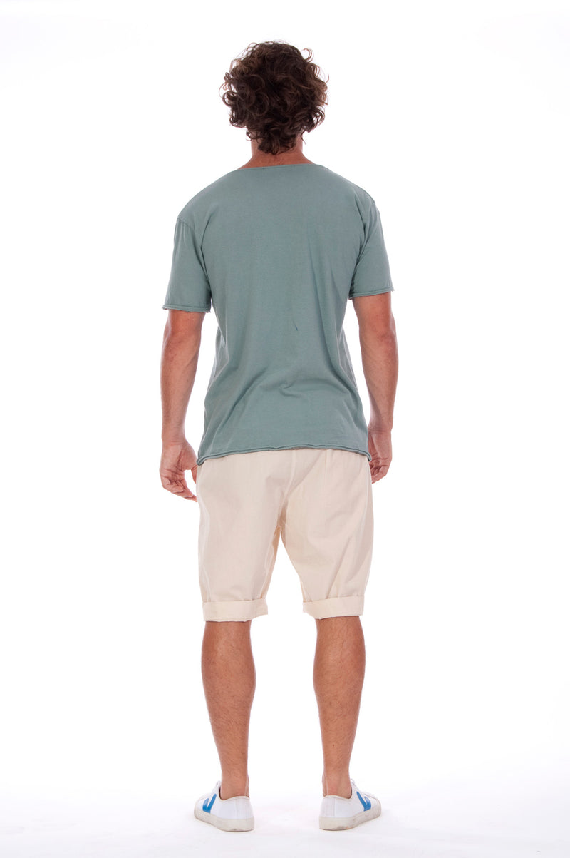 Island Soul - Round Neck - Cut Off - Tshirt - Colour Green and Raven Shorts - Colour Sand 4