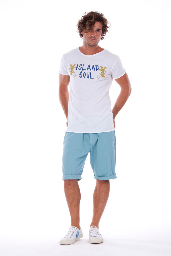 Island Soul - Round Neck - Cut Off - Tshirt - Colour White and Raven Shorts - Colour Blue 1