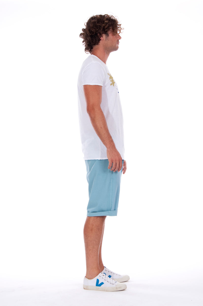 Island Soul - Round Neck - Cut Off - Tshirt - Colour White and Raven Shorts - Colour Blue 3
