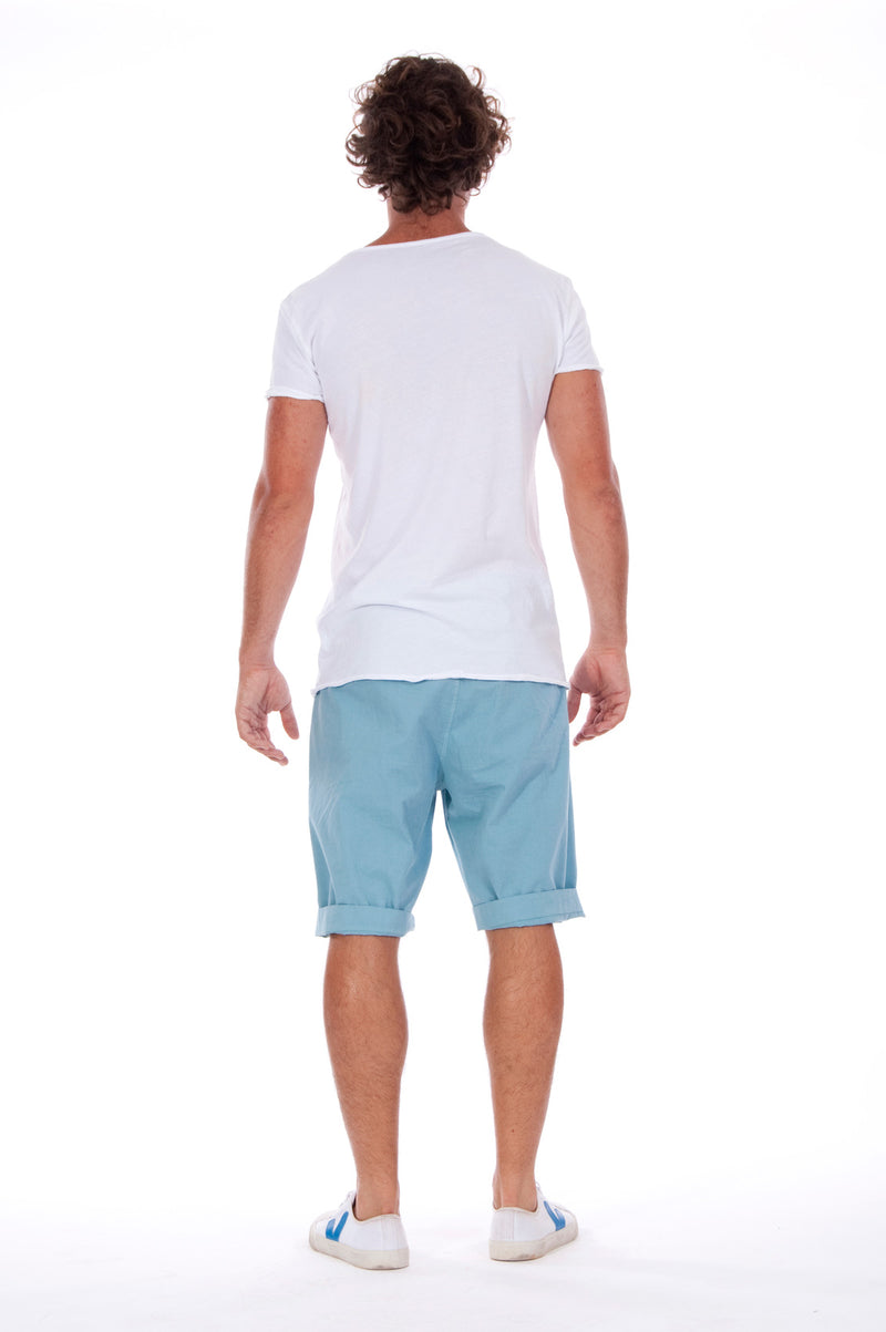 Island Soul - Round Neck - Cut Off - Tshirt - Colour White and Raven Shorts - Colour Blue 4