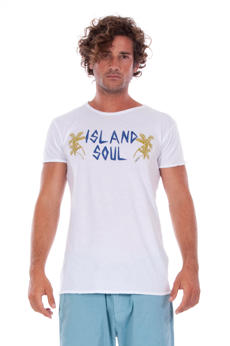 Island Soul - Round Neck - Cut Off - Tshirt - Colour White and Raven Shorts - Colour Blue 2