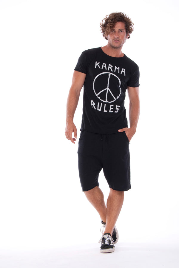 Karma Rules - Round Neck - Cut Off - Tshirt - Colour Black and Short Pants - Colour Black 1