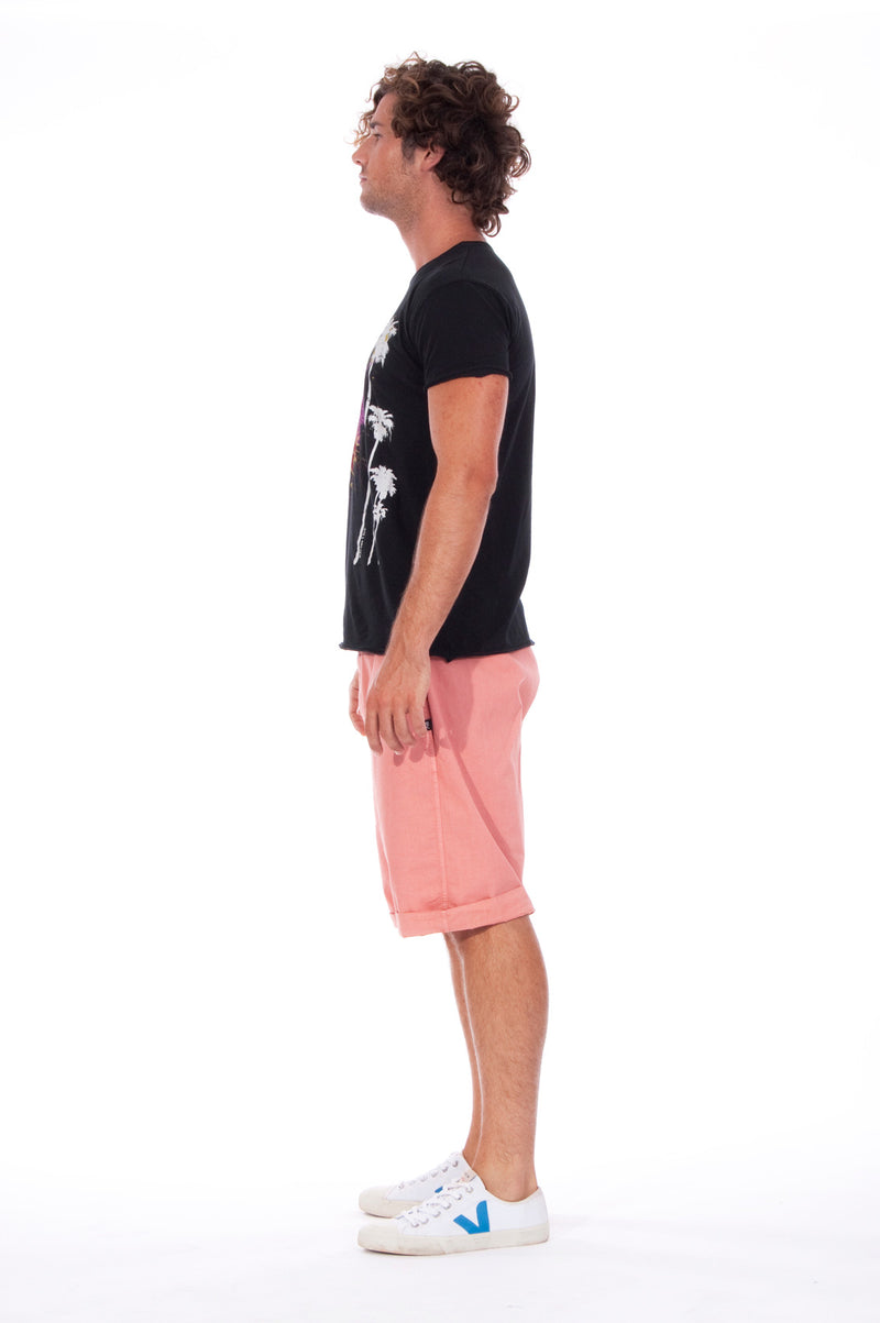 Live your life - Round Neck - Cut Off - Tshirt - Colour Black and Raven Shorts - Colour Clay 3
