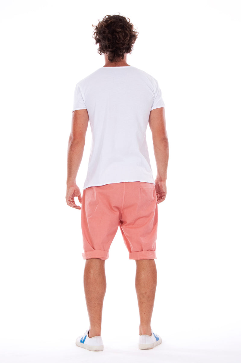Live your life - Round Neck - Cut Off - Tshirt - Colour White and Raven Shorts - Colour Clay 4