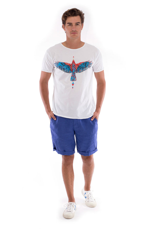 Raven - Round Neck - Cut Off - Tshirt- Colour White and Capri shorts - Colour Blue -1