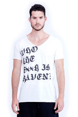 Who the f**k is Raven? - V Neck - Cut Off - Tshirt - Colour White - 2