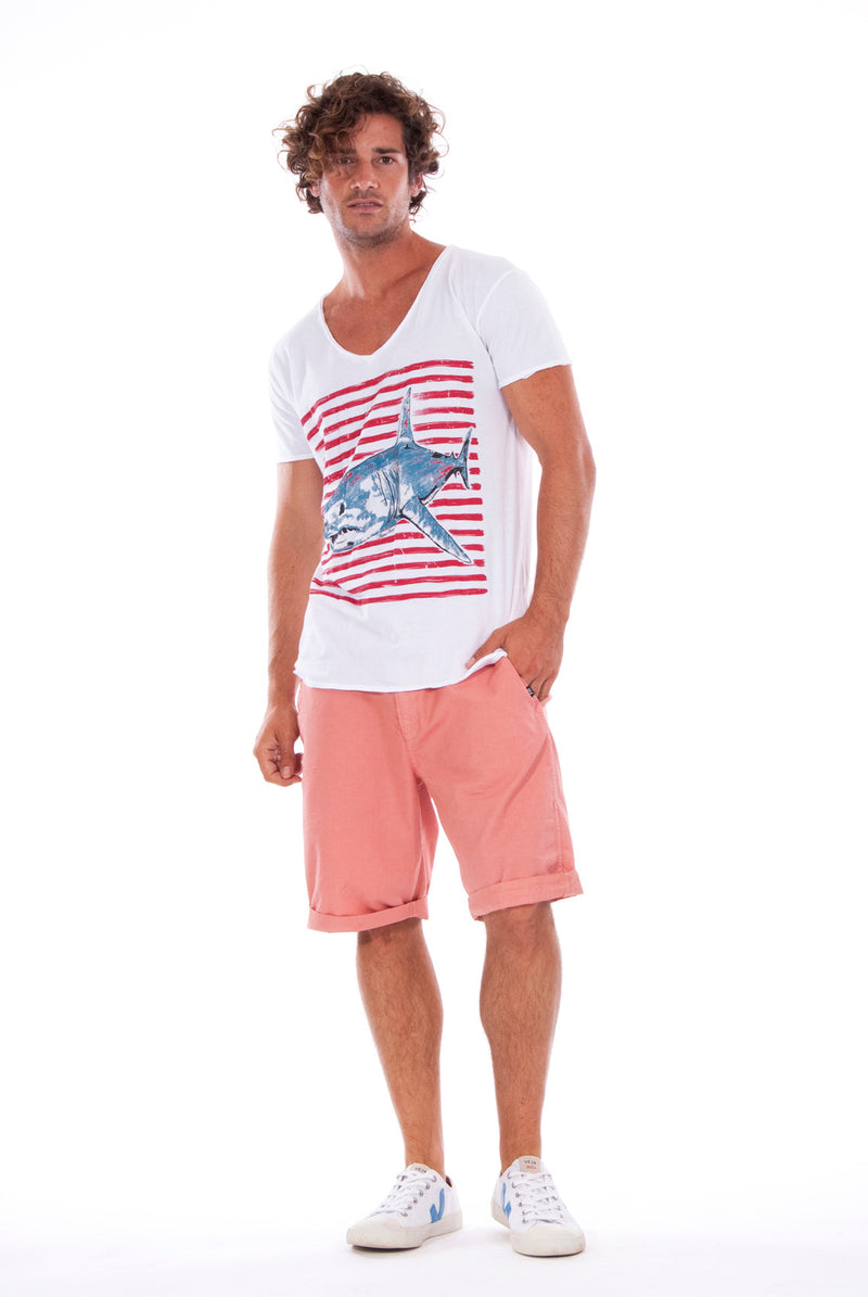 Shark - V Neck - Cut Off - Tshirt - Colour White and Raven Shorts - Colour Clay 1