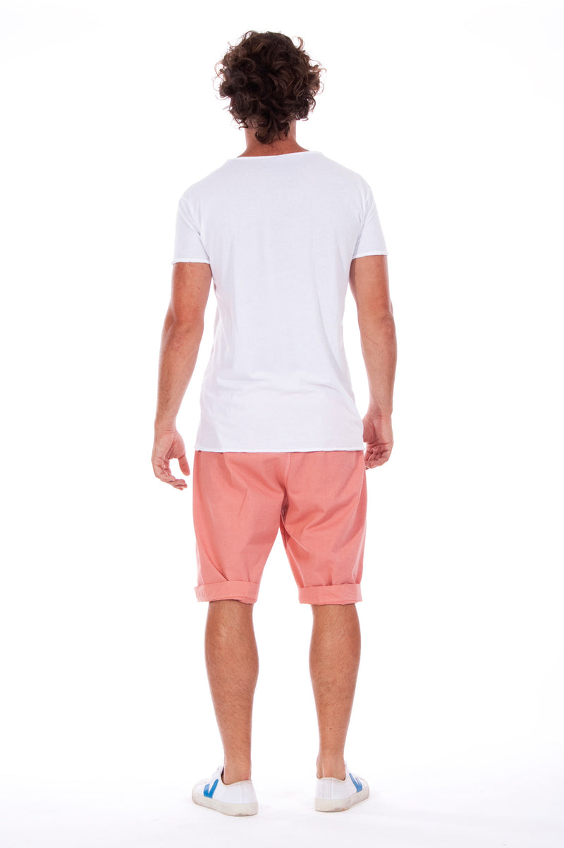 Shark - V Neck - Cut Off - Tshirt - Colour White and Raven Shorts - Colour Clay 4