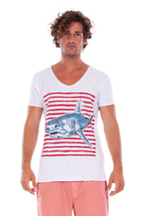 Shark - V Neck - Cut Off - Tshirt - Colour White and Raven Shorts - Colour Clay 2