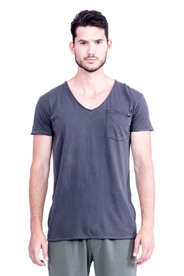 V neck - Tshirt - Cut Off - with pocket - Colour Antracite - Ravens View -2