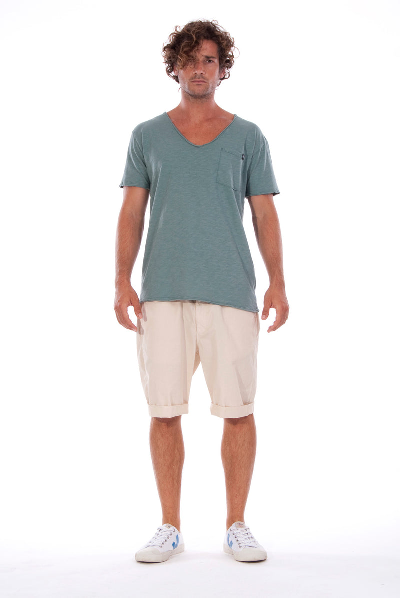 V neck - Tshirt - Cut Off - with pocket - Colour Green and Rraven shorts - Colour Sand -1