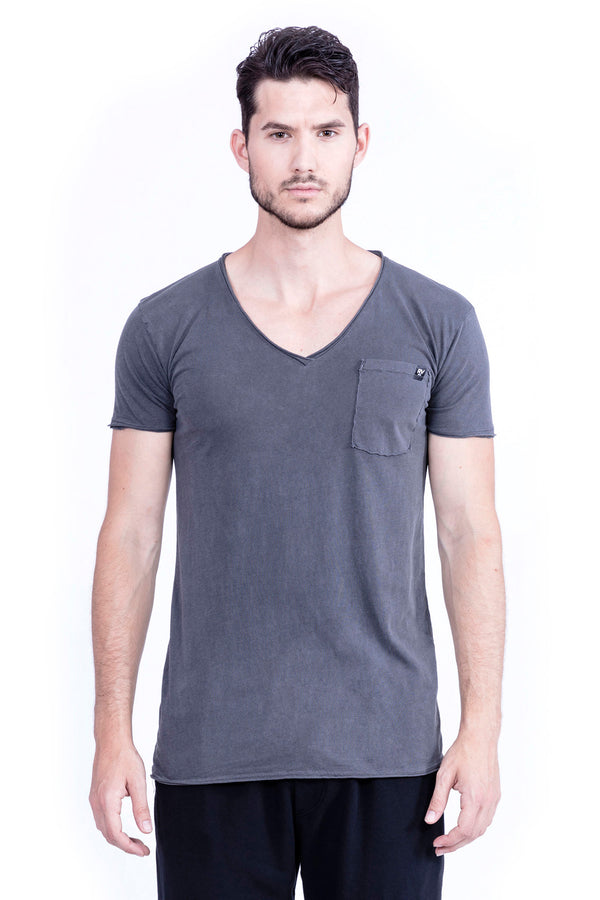 Raven - Raven - V Neck - Tshirt - Cut Off - with pocket - Colour Antracite 2